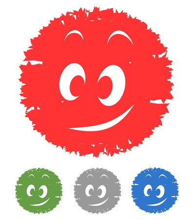 button design with smiling faces