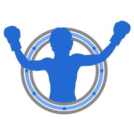 Bokser viert een overwinning met zijn armen omhoog Stockfoto - 9598232