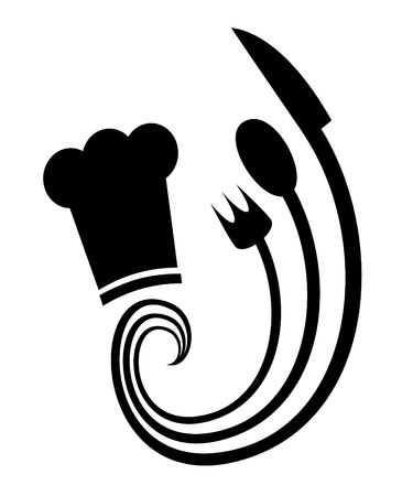 knife and fork: Abstract symbol representing the art of cooking  Illustration