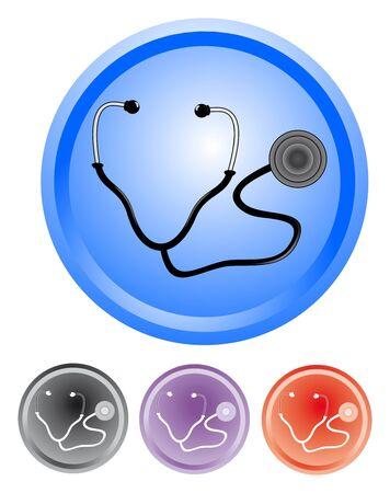 Signals of different colors with a stethoscope drawn  Ilustração