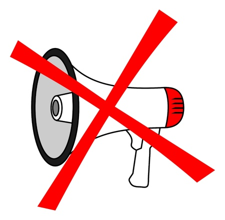 Illustration representing the prohibition of using megaphone  Vector