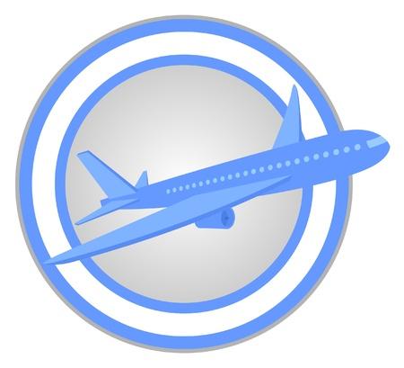 circular sign with a plane  Stock Vector - 9560229