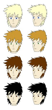 drawing faces with different hair colors Stock Vector - 9560235