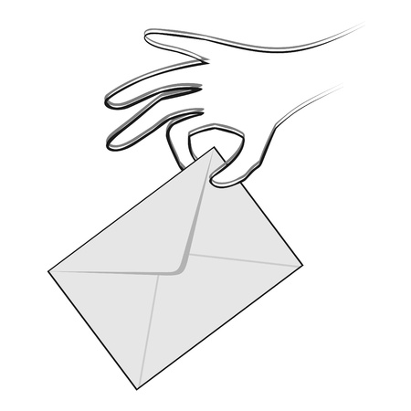 hand holding an envelope ready to vote Stock Vector - 9560226