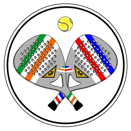 Circular illustration with two paddle tennis rackets