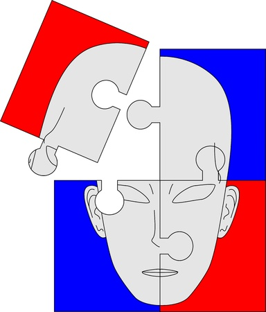 splitting: Four sheets forming a face puzzle  Illustration