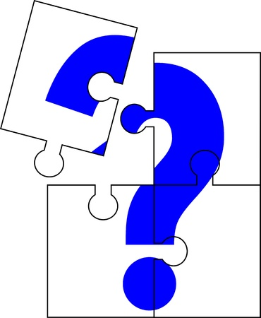 missing piece: Puzzle of four parts forming a question mark