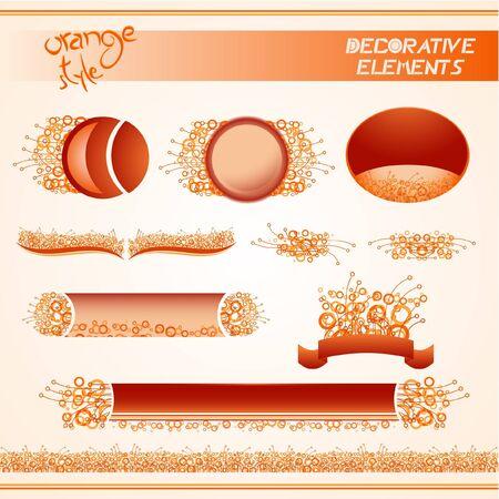 Design of various orange decorative elements  Vector