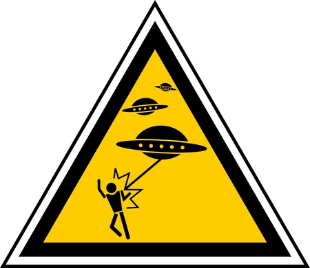 Triangular signal indicating caution for UFO attack  Stock Vector - 9598323