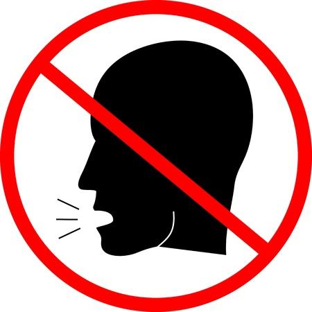 interdiction: Panneau indiquant l'interdiction de parler
