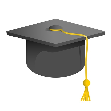 college students: drawing of a university graduation cap