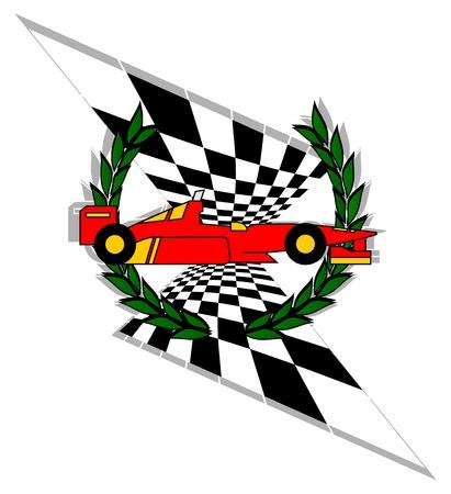 Racing car with laurel crown Vector