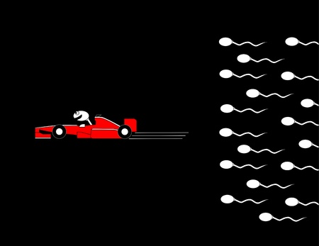 comic strip: Sperm race led by a race car driver  Illustration