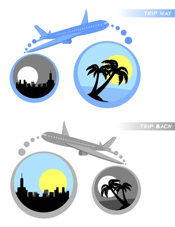 return trip: Representation of a trip to the beach and return  Illustration