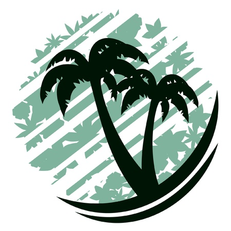 Drawing of palm trees on abstract background  矢量图像
