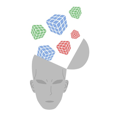 philosophical: Drawing abstract thinking head
