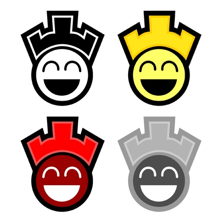 Collection of four fan face Stock Vector - 9695994