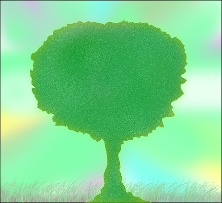 Colorful background with green tree Stock Photo - 10329414