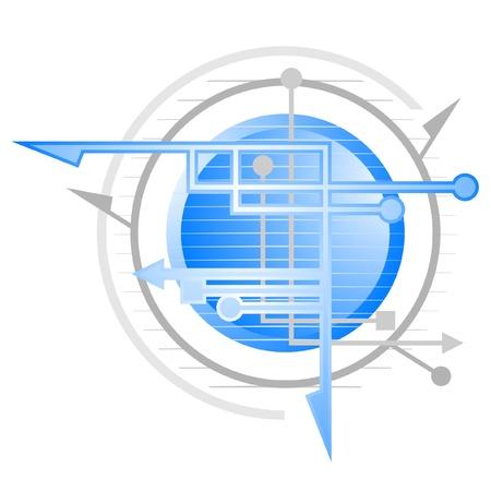 Circular emblem representing science Ilustração