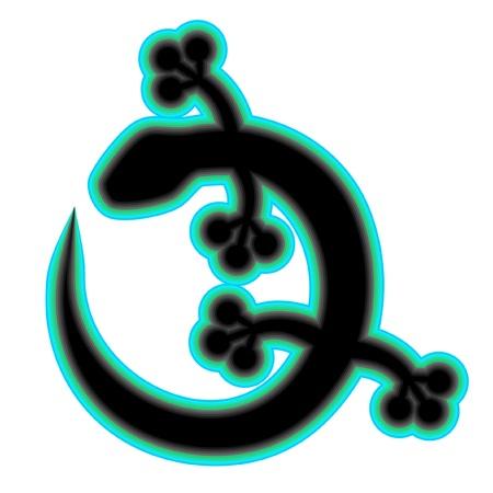 salamander: Illustrazione di lucertola nera con bordo verde