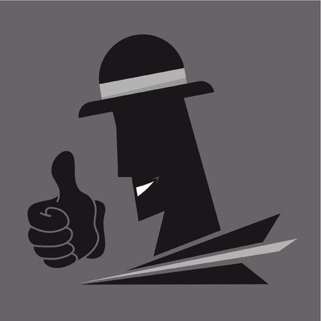 suspens: Visage et les mains gangster