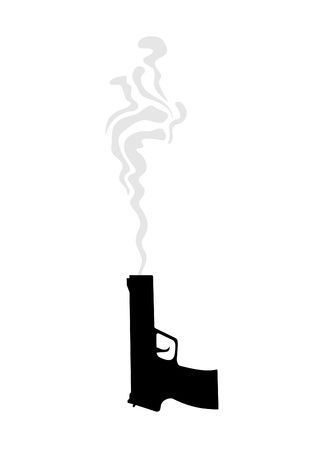 shooting gun: Illustration fuming gun