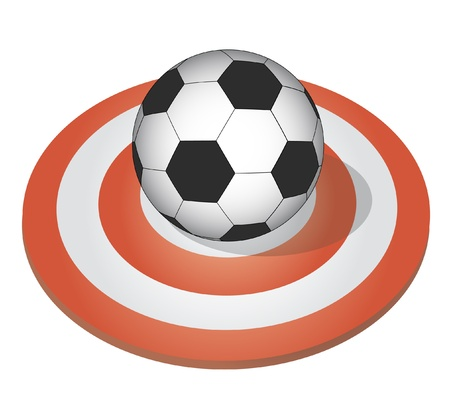 Soccer ball placed on a target Vector