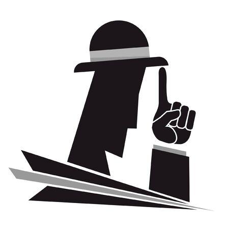 mystery man: Creative illustration of a stylish gangster Illustration