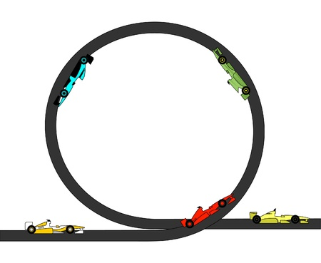 prototyping: Drawings of race cars through a looping