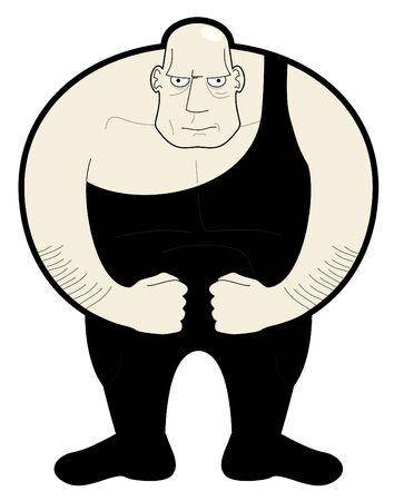 Drawing fat man wrestler Vector