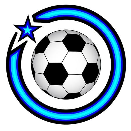 futbol soccer dibujos: Dise�o del emblema circular con una pelota de f�tbol