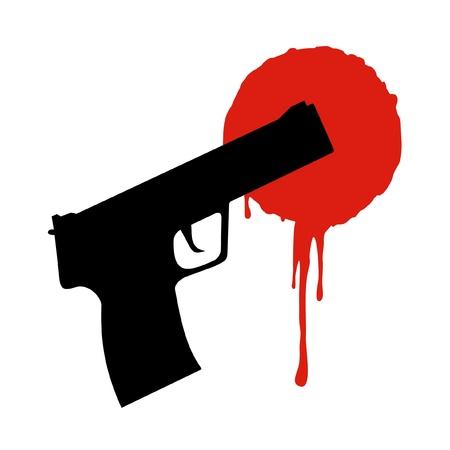 bloodstain: Gun and bloodstain Illustration