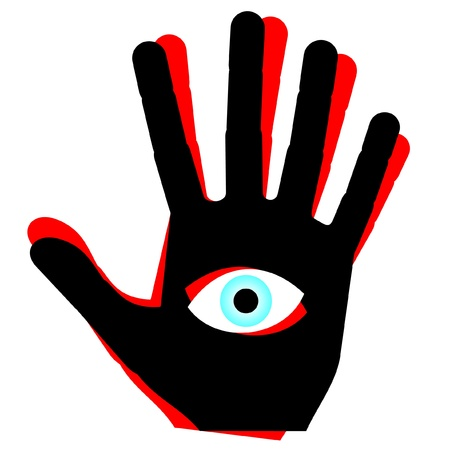 eye red: Abstract drawing hand with eye in center