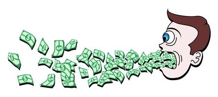 Drawing head throwing money Stock Vector - 9987314