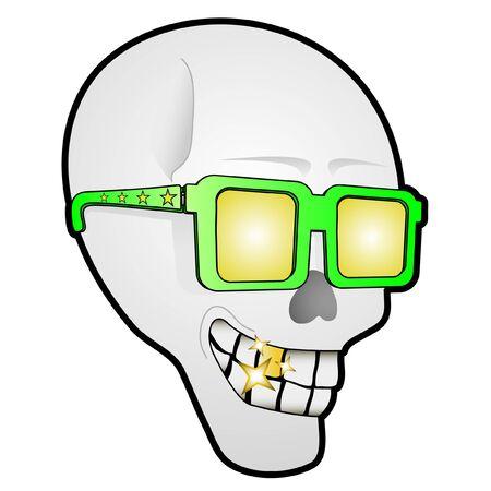 disfrazados: Foto de un cr�neo con gafas Vectores
