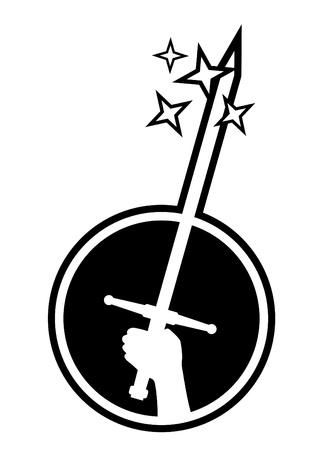sharpening: Hand holding sword Illustration