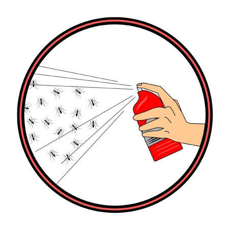 insecticide: Circular symbol killing ants with insecticide Illustration