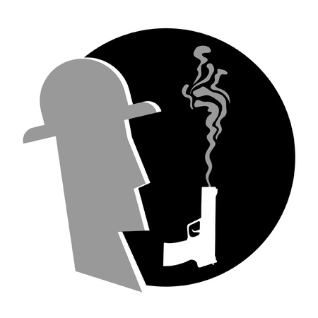 gangster with gun: S�mbolo circular con el dise�o de un mafioso y un arma de fuego Vectores