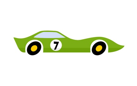 Drawing of green car racing