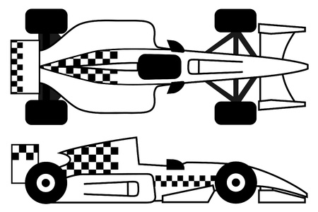 Voiture de course avec un design à damiers Vecteurs