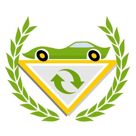 turismo ecologico: Emblema del coche verde y símbolo de reciclaje Vectores