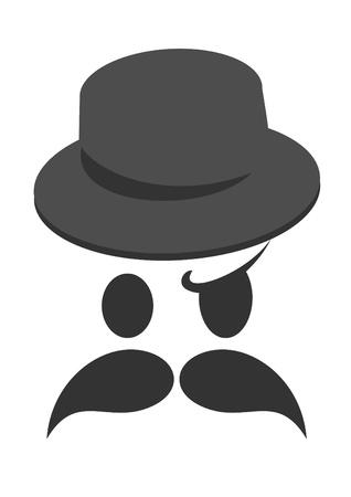 clin d oeil: Visage avec une moustache et un chapeau