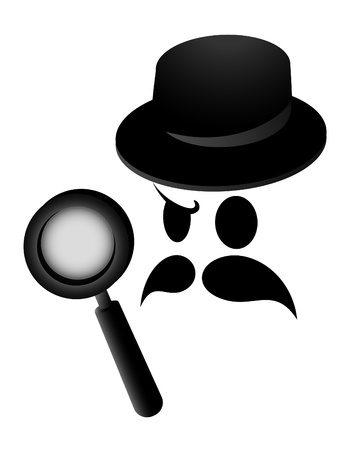 investigating: Detective investigating with a magnifying glass