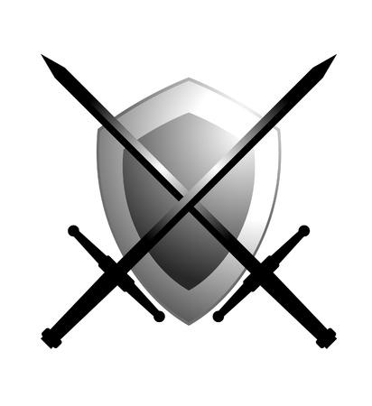 Schild und zwei Schwerter