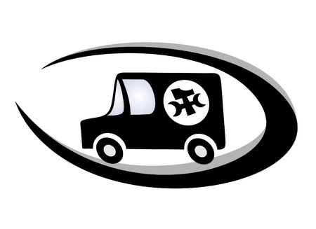 Van with symbol of hammer and wrench Vector
