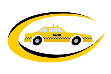 Emblema oval con un dibujo de un taxi