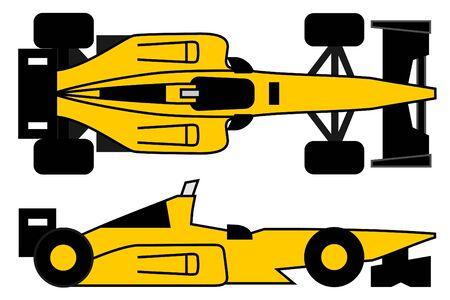 Design of yellow racing car