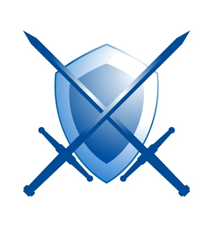 shield and sword: Icon firewall, representing a secure internet browsing
