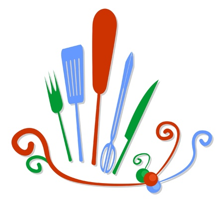 palette knife: Colorful design of kitchen tools