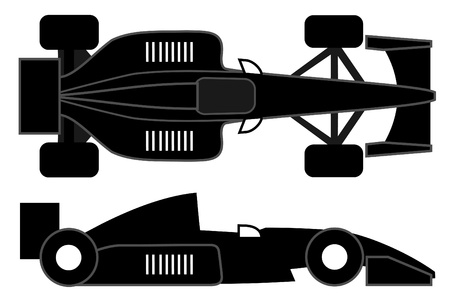Racing car design at two positions Illustration